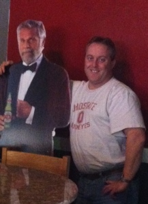 """I don't always pose with cardboard cutouts, but when I do ..."""