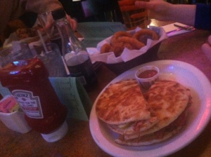 And that's not a quesadilla. How do the pictures make it looks like our side of the table went to a Mexican restaurant?