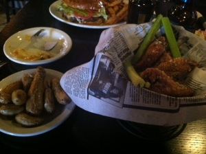 Wings in a newspaper.