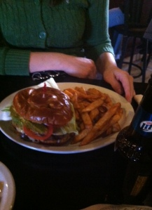 Giant burger on a pretzel bun