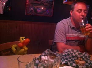 Just sharing a drink with a balloon duck. Nothing to see here.