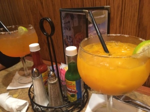 Peach and mango flavored margaritas