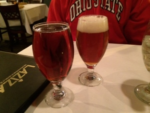 It's hard to tell from this photo, but my beer is actually darker than Ted's. What?