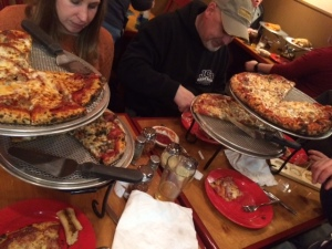 Four pizzas for five people? Seems totally reasonable.